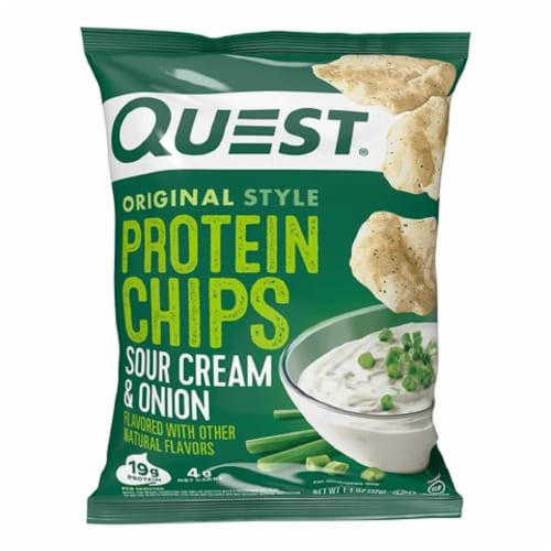 Quest Sour Cream & Onion Flavor Protein Chips, 1.125 Oz (Pack of 8) Perspective: front