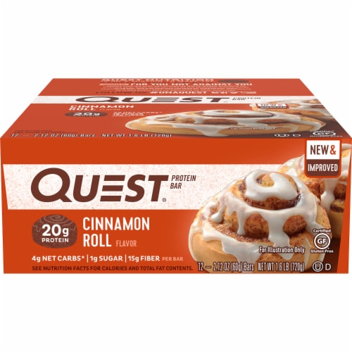 Quest Cinnamon Roll Flavored Protein Bars Perspective: front