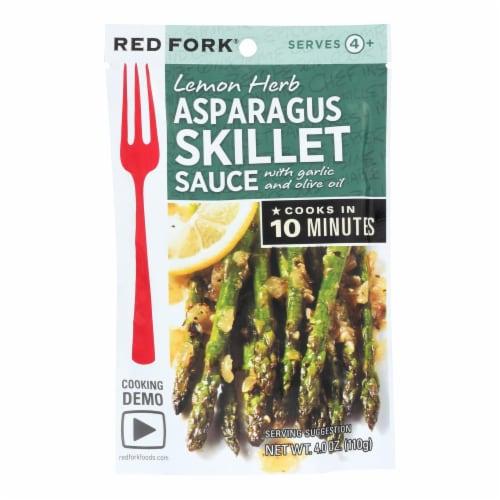 Red Fork Lemon Herb Asparagus Skillet Sauce Perspective: front