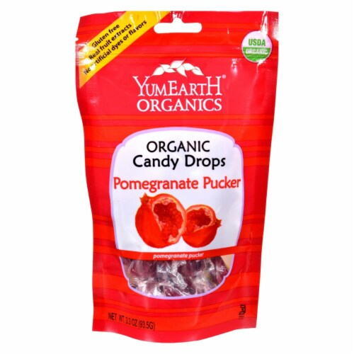 Yummy Earth Organic Candy Drops Pomegranate Pucker - 3.3 oz - Case of 6 Perspective: front