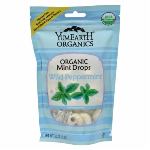 Yummy Earth Organic Candy Drops Wild Peppermint - 3.3 oz - Case of 6 Perspective: front