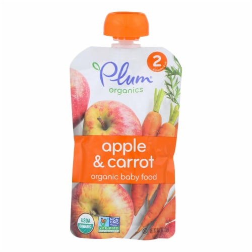 Plum Organics Baby Food-Apple and Carrot - Stage 2 - 6 Months and Up - 3.5 .oz - Case of 6 Perspective: front