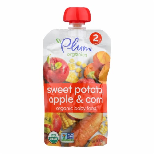 Plum Organics Baby Food-Sweet Potato Corn and Apple-Stage 2-6 Months and Up -3.5oz-Case of 6 Perspective: front