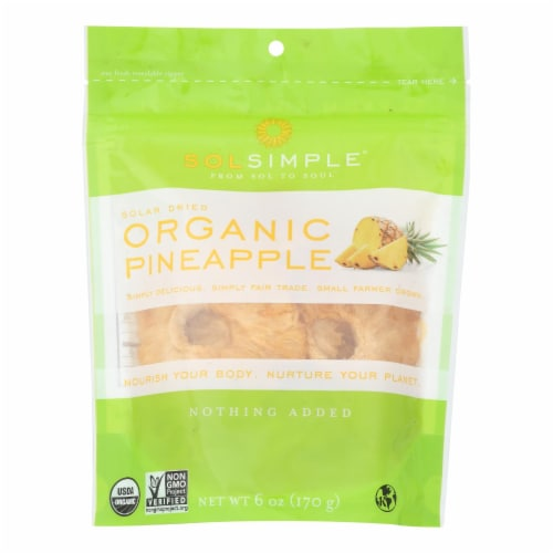 Sol Simple Dried Pineapple - Case of 6 - 6 oz. Perspective: front
