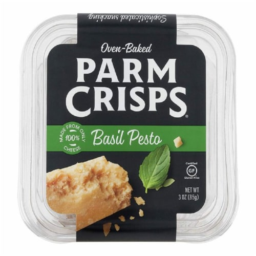 Parm Crisps Basil Pesto Gluten Free, 3oz (Pack of 12) Perspective: front