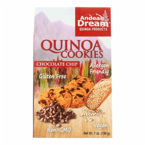Andean Dream Gluten Free Quinoa Cookies Chocolate Chip - Case of 6 - 7 oz. Perspective: front