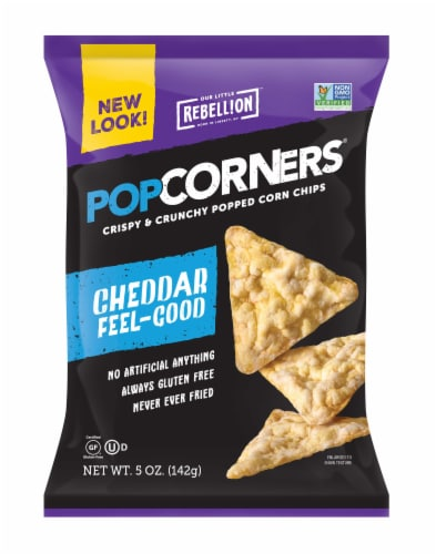 Popcorners White Cheddar Popcorn Chips, 5 Ounce -- 12 per case Perspective: front