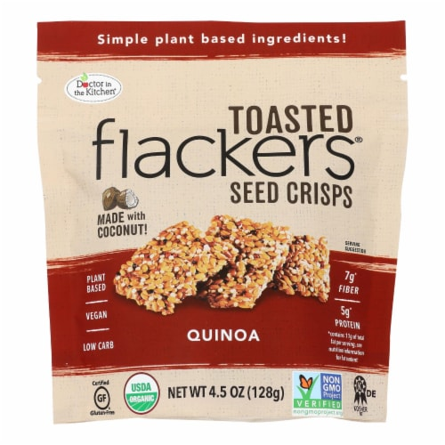 Doctor in the Kitchen Flackers Organic Quinoa Toasted Seed Crisps Perspective: front
