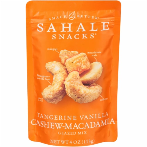 Sahale Tangerine Vanilla Cashew and Macadamia Nuts Glazed Mix, 4 Ounce -- 6 per case. Perspective: front