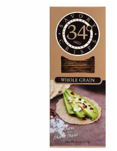 34 Degrees Whole Grain Savory Crisps, 4.5 OZ (Pack of 18) Perspective: front