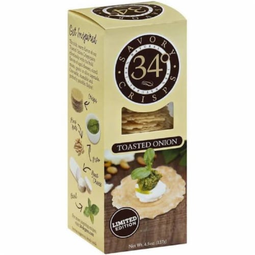 34 Degrees Toasted Onion Crisps Thin, Light & Crunchy, 4.5oz (Pack of 18) Perspective: front