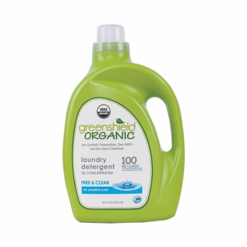 Green Shield Organic Laundry Detergent - Free and Clear - Case of 2 - 100 Fl oz. Perspective: front