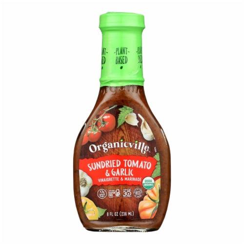 Organic Ville Sun Dried Organic Vinaigrette - Tomato and Garlic - Case of 6 - 8 Fl oz. Perspective: front