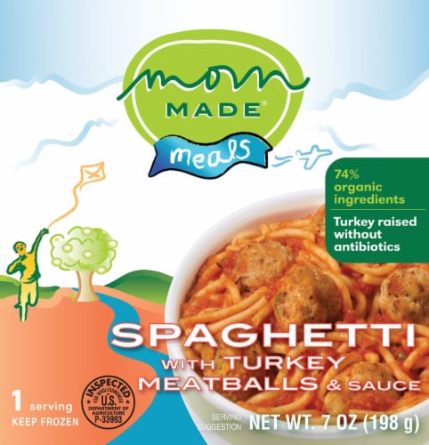 Mom Made Spaghetti with Turkey Meatballs & Sauce Meal Case Perspective: front