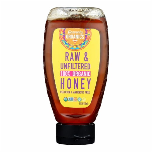 Heavenly Organics - Honey Organic Raw Squeeze - Case of 6 - 16 OZ Perspective: front