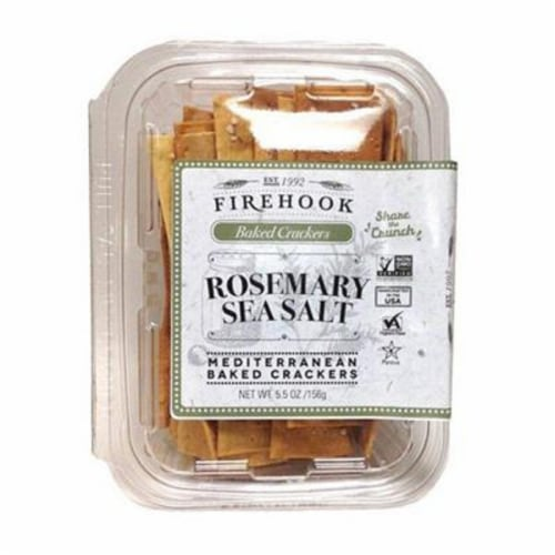 Firehook Baked Crackers Rosemary Sea Salt Mediterranean Non GMO, 5.5oz (Pack of 8) Perspective: front