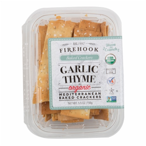 Firehook Baked Crackers Garlic Thyme Mediterranean Baked Crackers Non GMO, 5.5oz (Pack of 8) Perspective: front