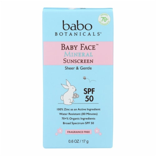 Babo Botanicals - Baby Face Mineral Sunscreen - SPF 50 - Case of 6 - 0.6 oz. Perspective: front