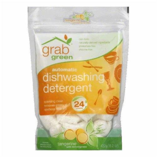 GrabGreen Tangerine & Lemongrass Dishwasher Detergent 24 Loads, 15.2 OZ (Pack of 6) Perspective: front