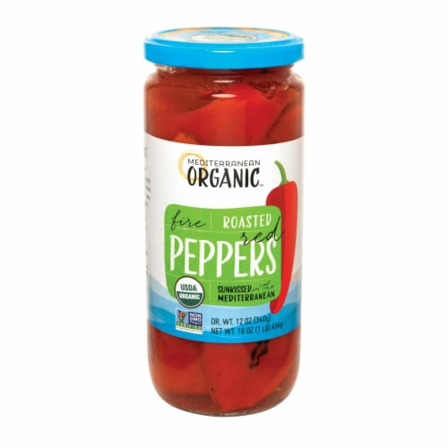 Mediterranean Organic Organic Fire Roasted Gourmet Red Peppers - Case of 12 - 16 OZ Perspective: front