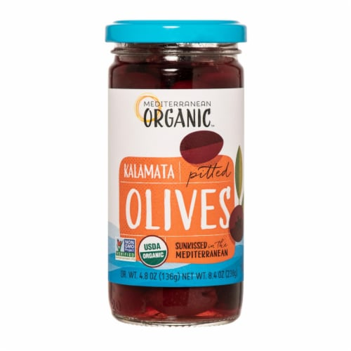 Mediterranean Organic Organic Pitted Kalamata Olives - Case of 12 - 8.4 OZ Perspective: front