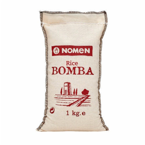 Bomba Rice from Ebro Delta, Extra Quality, Cotton Bag. Pack 2 x 1 Kg  (2.2 Lb) Perspective: front