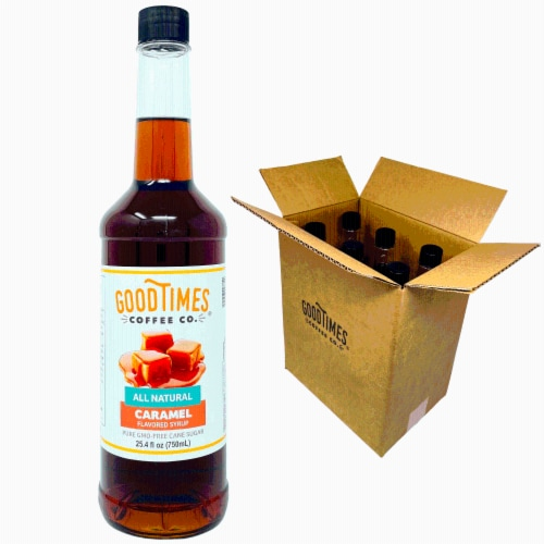 Caramel Syrup, All Natural, Vegan, Gluten-Free, Non-GMO Cane Sugar, 25.4 Fl Oz Bottle, 6 Pack Perspective: front