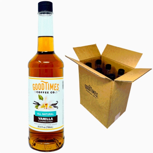 Vanilla Syrup, All Natural, Vegan, Gluten-Free, Non-GMO Cane Sugar, 25.4 Fl Oz Bottle, 6 Pack Perspective: front