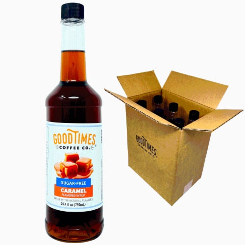 Sugar Free Caramel Syrup, Natural Flavor, Vegan, Gluten-Free, No Artificial Colors (6 Pack) Perspective: front