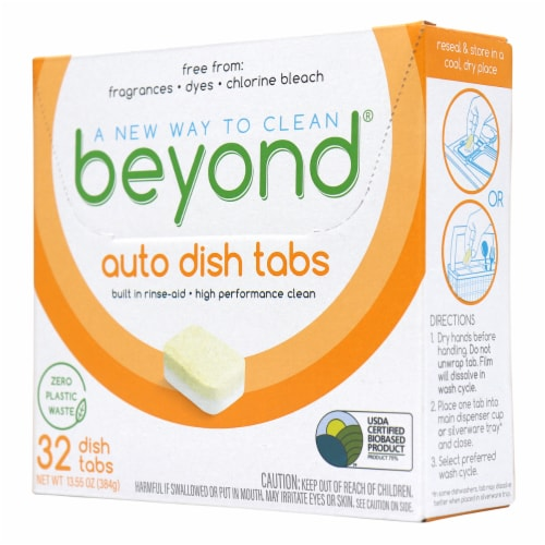 Beyond Natural Dishwasher Tablets - Fragrance & Dye Free - Case of 8 boxes Perspective: front