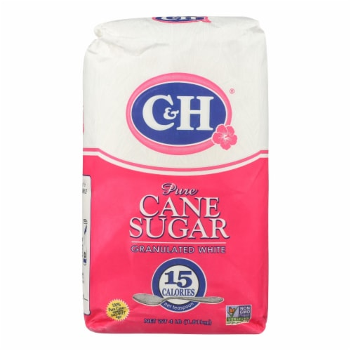 C & H Sugar Granulated White Pure Cane Sugar - Case of 10 - 4 LB Perspective: front