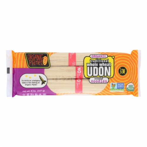 Organic Planet Traditional Whole Wheat Udon Oriental Noodles - Case of 12 - 8 oz. Perspective: front