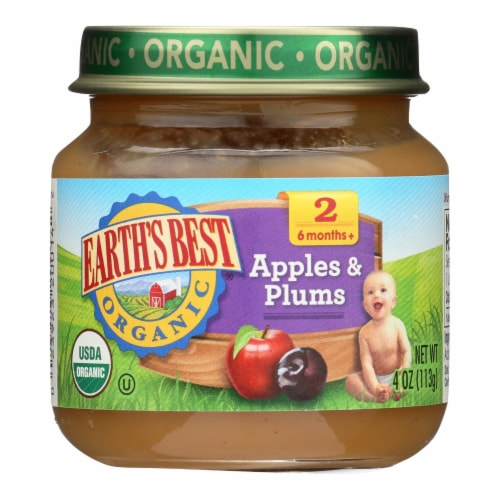 Earth's Best - Apple Plum - Case of 10-4 OZ Perspective: front