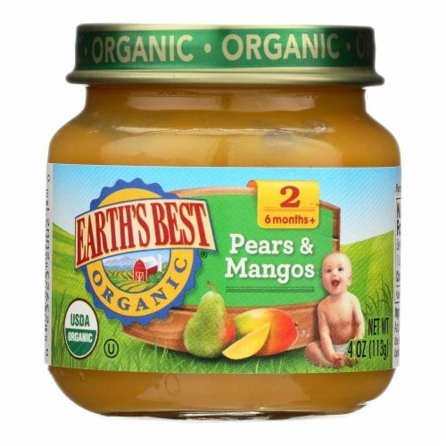 Earth's Best - Stage 2 Pears & Mangos - Case of 10-4 OZ Perspective: front