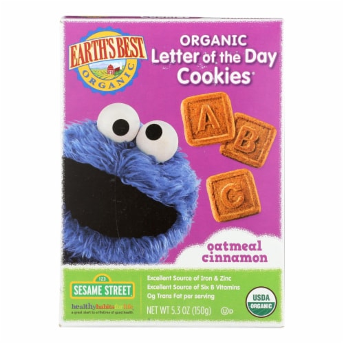 Earth's Best Organic Letter of The Day Oatmeal Cinnamon Cookies - Case of 6 - 5.3 oz. Perspective: front
