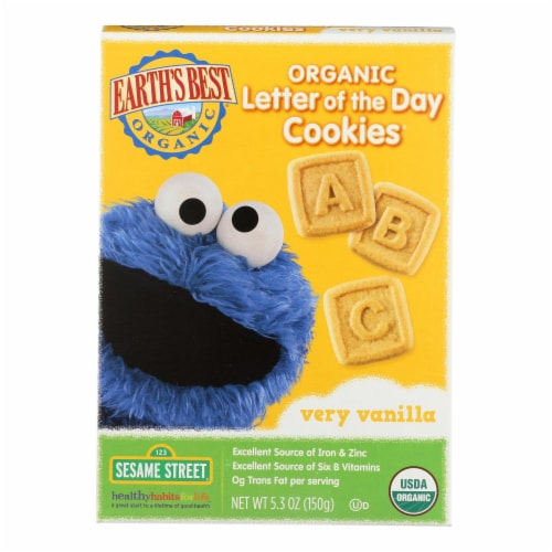 Earth's Best Organic Letter of The Day Very Vanilla Cookies - Case of 6 - 5.3 oz. Perspective: front