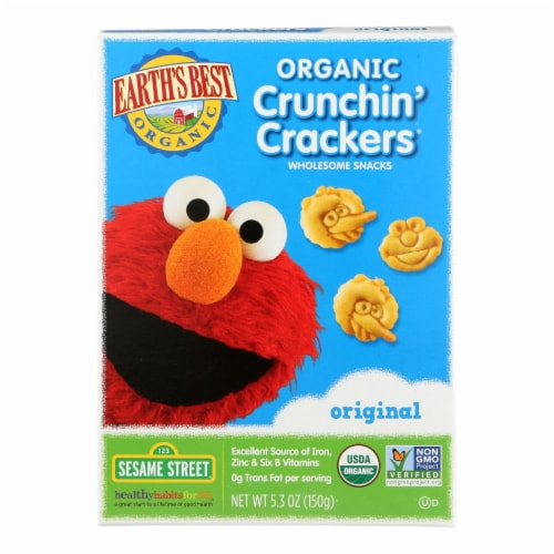 Earth's Best Organic Original Sesame Street Crunchin' Crackers - Case of 6 - 5.3 oz. Perspective: front