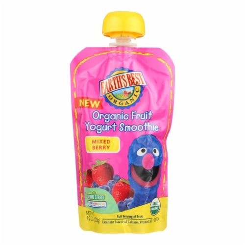 Earth's Best Organic Fruit Yogurt Smoothie - Mixed Berry - Case of 12 - 4.2 oz. Perspective: front