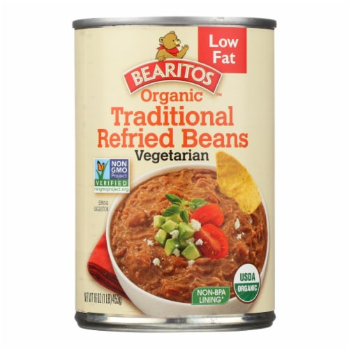 Bearitos Organic Refried Beans - Traditional - Case of 12 - 16 oz. Perspective: front