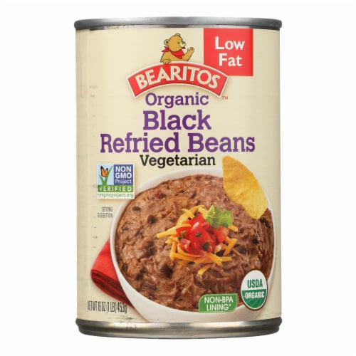 Bearitos Organic Refried Beans - Black Bean - Case of 12 - 16 oz. Perspective: front