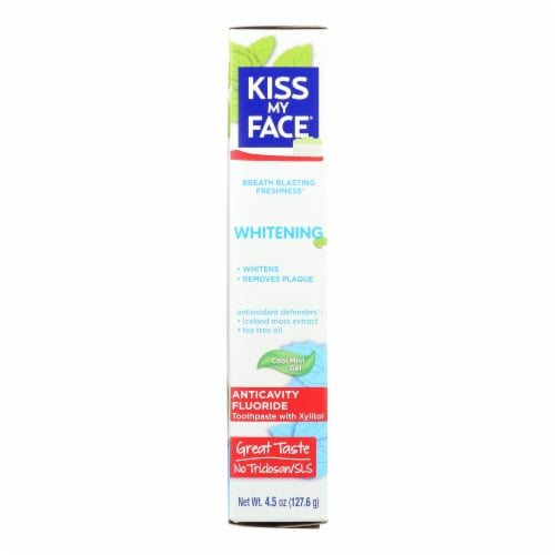 Kiss My Face Toothpaste - Whitening - Anticavity Fluoride - Gel - 4.5 oz Perspective: front