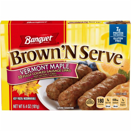Banquet Brown and Serve Maple Sausage Link Perspective: front