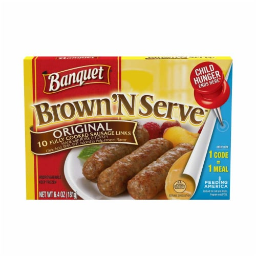 Banquet Brown and Serve Lite Original Breakfast Sausage Link, 6.4 Ounce -- 12 per case. Perspective: front