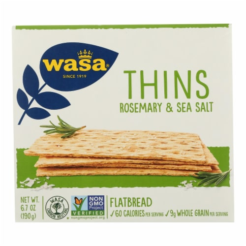 Wasa Rosemary & Salt Flatbread Thins - Case of 10 - 6.7 OZ Perspective: front