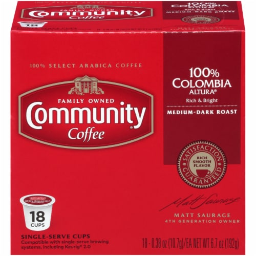 Community Coffee Colombia Altura Single Serve Coffee Cups (4 Pack) Perspective: front