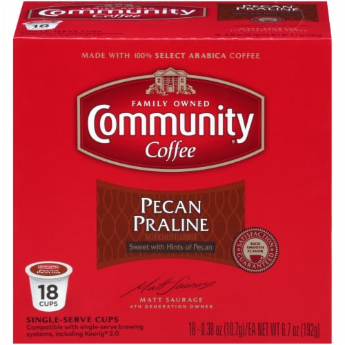 Community Coffee Pecan Praline Coffee Single Serve Cups Perspective: front