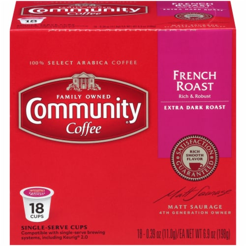 Community Coffee French Roast Single Serve Coffee Cups Case Perspective: front