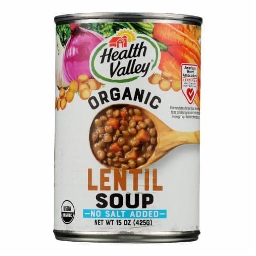 Health Valley Organic Soup - Lentil No Salt Added - Case of 12 - 15 oz. Perspective: front