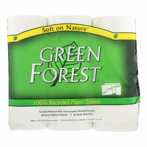 Green Forest Premium Paper Towels - White - Case of 10 - 3 Roll Perspective: front