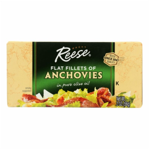 Reese Anchovies - Flat Fillets - in Pure Olive Oil - 2 oz - Case of 10 Perspective: front